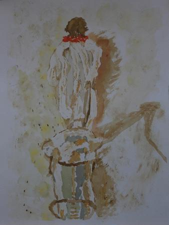 Bedouin leading camel