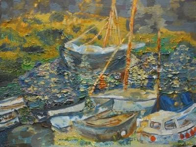 Mousehole harbour, resting boats