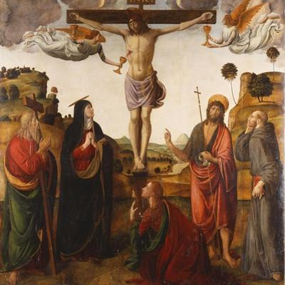 The Crucifixion with the Madonna, Saints John the Baptist, Mary Magdalen, Andrew and Francis by Cosimo Rosselli