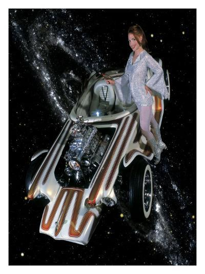 Cosmic Pin-Up Girl-David Perry-Giclee Print