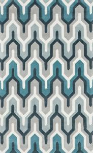 Cosmopolitan Maze Area Rug - Light Gray/Teal 5' x 8'