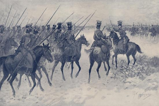 'Cossacks Awaiting A French Cavalry Charge', 1812, (1896)-Unknown-Giclee Print