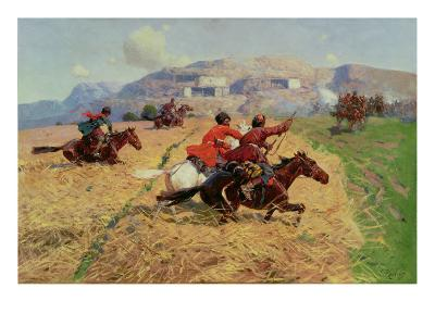 Cossacks Charging into Battle- Roubaud-Giclee Print