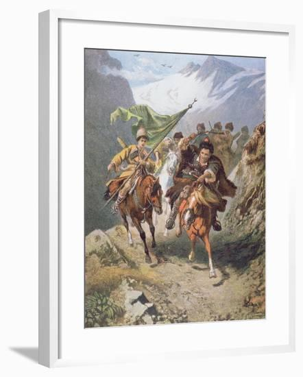 Cossacks of the Caucasus Return from a Raid on a Settlement of Muslim Cossacks-Russian-Framed Giclee Print
