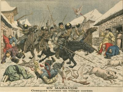 Cossacks Terrorising a Korean Village, Russo-Japanese War, 1904--Giclee Print