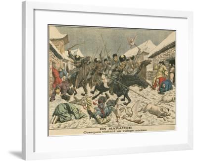 Cossacks Terrorising a Korean Village, Russo-Japanese War, 1904--Framed Giclee Print