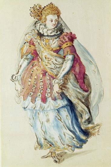Costume Design for a Lady Masquer, 1610-Inigo Jones-Giclee Print