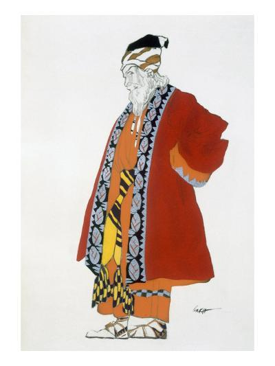 Costume Design for an Old Man in a Red Coat (Colour Litho)-Leon Bakst-Giclee Print