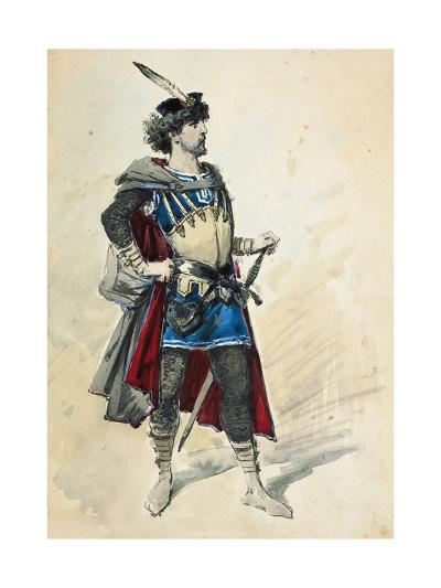 Costume Sketch by Alfred Edel for the Role of Manrico in Il Trovatore--Giclee Print