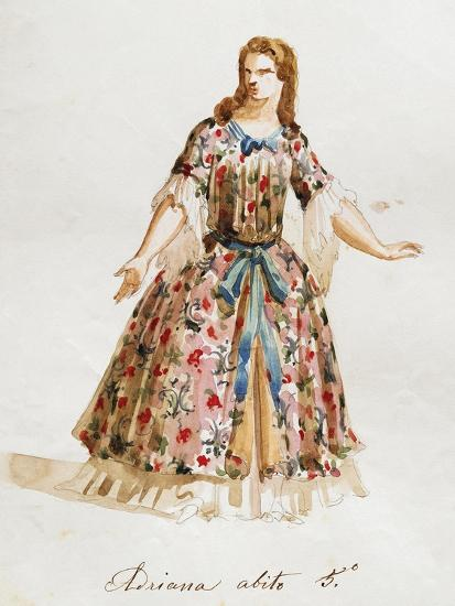 Costume Sketch for Role of Adriana in Opera Adriana Lecouvreur, 1899-1902-Francesco Cilea-Giclee Print