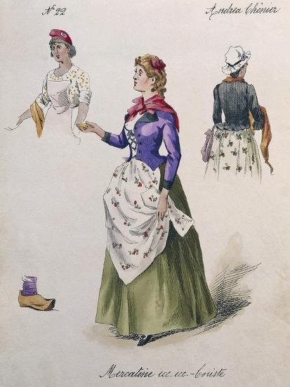 Costume Sketch for Role of Chorus Girl in Opera Andrea Chenier, 1896-Umberto Giordano-Giclee Print
