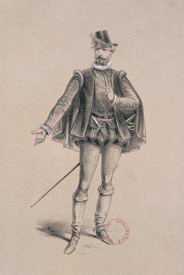 Costume Sketch for Role of Marquis of Posa for Premiere of Opera Don Carlos-Giuseppe Verdi-Giclee Print