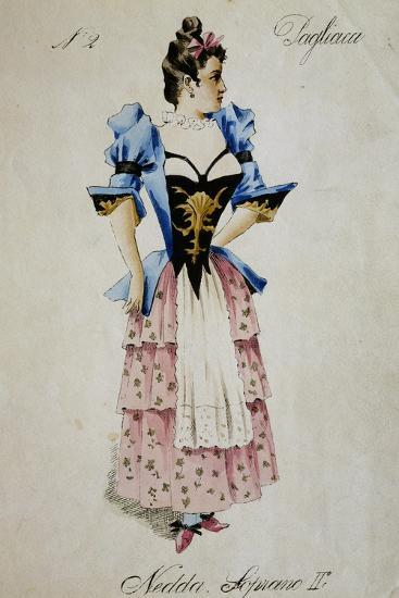 Costume Sketch for Role of Nedda, Colombina in Play Within Play, in Opera Pagliacci, 1892-Ruggero Leoncavallo-Giclee Print