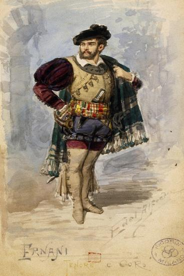 Costume Sketch for the Role of Ernani in the First Act of the Homonymous Opera by Giuseppe Verdi--Giclee Print