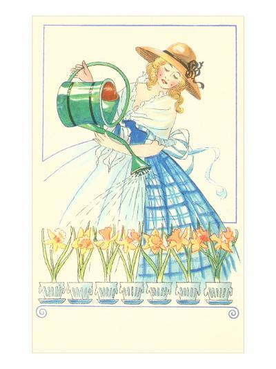 Costumed Lady Watering Daffodils--Art Print