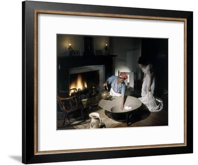 Costumed Women Reenact Taking a Bath before Advent of Modern Plumbing-Willard Culver-Framed Photographic Print
