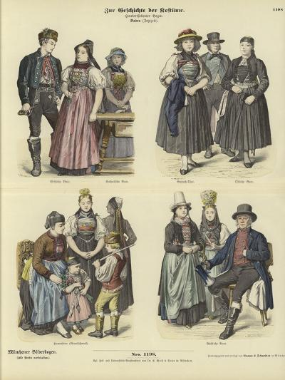 Costumes from Baden, Germany, 19th Century--Giclee Print
