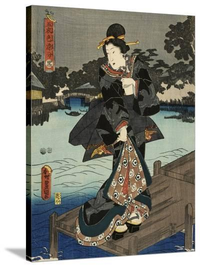 Costumes in Five Different Colors - Black (Kuro)-Utagawa Kunisada (Toyokuni III)-Stretched Canvas Print