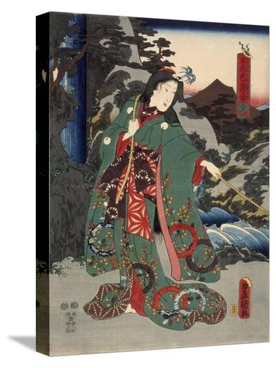 Costumes in Five Different Colors - Green (Ao)-Utagawa Kunisada (Toyokuni III)-Stretched Canvas Print
