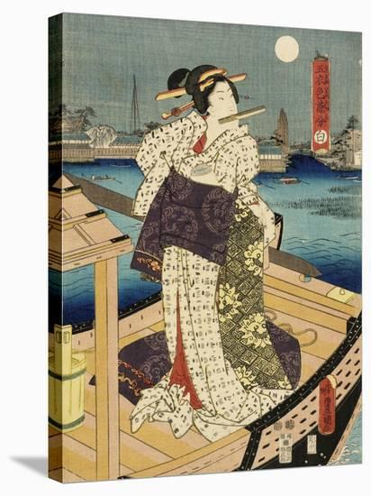 Costumes in Five Different Colors - White (Shiro)-Utagawa Kunisada (Toyokuni III)-Stretched Canvas Print