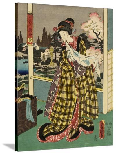 Costumes in Five Different Colors - Yellow (Ki)-Utagawa Kunisada (Toyokuni III)-Stretched Canvas Print