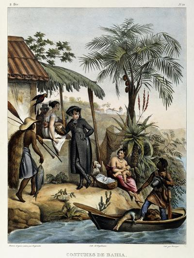 Costumes of Bahia, from 'Picturesque Voyage to Brazil', Published, 1835-Johann Moritz Rugendas-Giclee Print