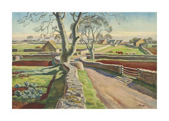 Cotswold Crossroads-Adrian Allinson-Premium Giclee Print