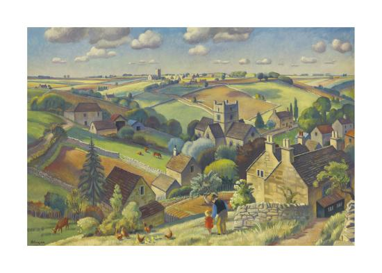Cotswold Pattern-Adrian Allinson-Premium Giclee Print