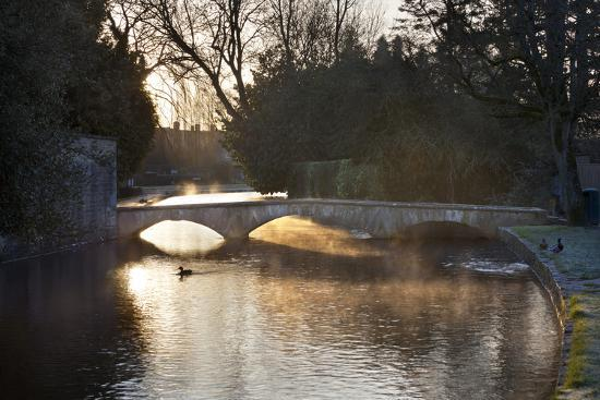 Cotswold Stone Bridge over River Windrush in Mist, Bourton-On-The-Water, Cotswolds-Stuart Black-Photographic Print