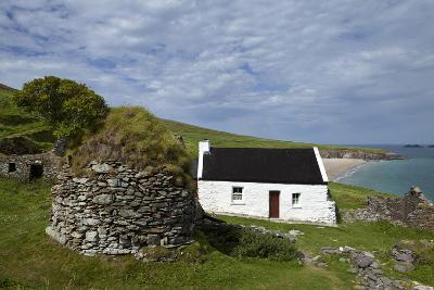 Cottage and Deserted Cottages on Great Blasket Island, the Blasket Islands--Photographic Print