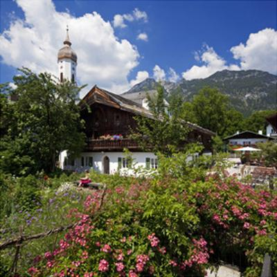 Cottage Garden at Polznkaspar House with Parish Church of St. Martin