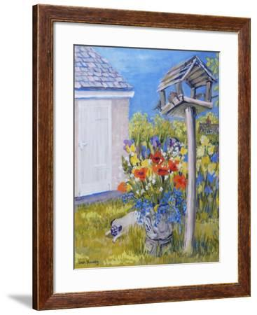 Cottage Garden with Birdhouse and Pug, 2011-Joan Thewsey-Framed Giclee Print