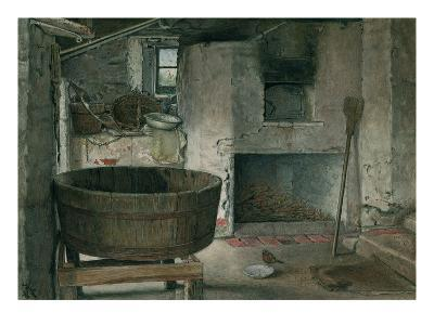 Cottage Interior with Robin, 1930 (W/C on Board)-Violet Linton-Giclee Print