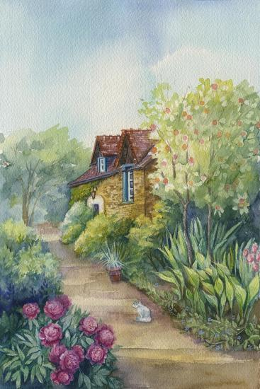 Cottage on a Dirt Road, Peonies in the Garden-ZPR Int'L-Giclee Print
