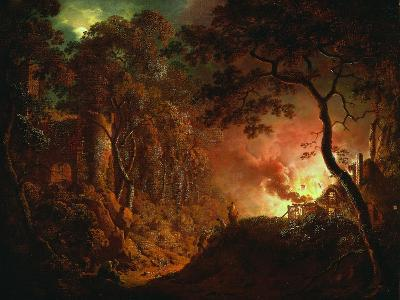 Cottage on Fire, C.1786-87-Joseph Wright of Derby-Giclee Print