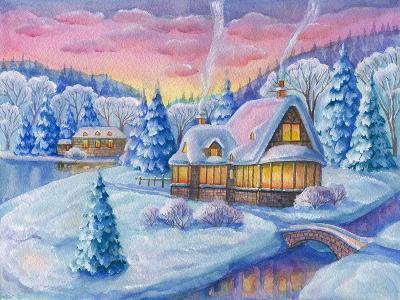 Cottage under the Snowcabin Winter-ZPR Int'L-Giclee Print