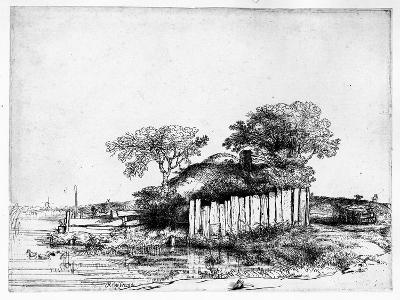 Cottage with a White Paling, 1648 (Etching)-Rembrandt van Rijn-Giclee Print