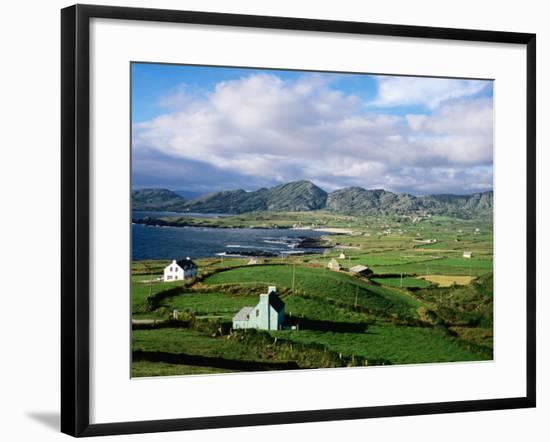 Cottages with Coastline in Distance, Ireland-Holger Leue-Framed Photographic Print