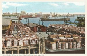Cotton Bales on Docks, Norfolk, Virginia