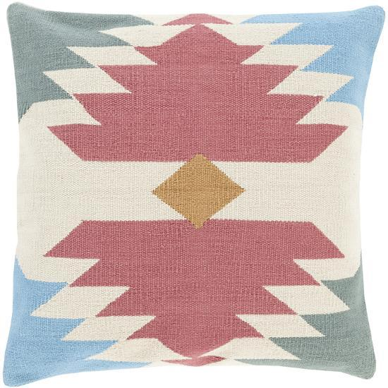 Cotton Kilim Down Fill Pillow - Rose--Home Accessories