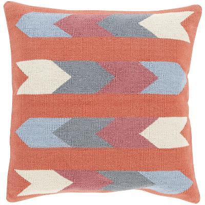 Cotton Kilim Stripes Down Fill Pillow - Terracotta--Home Accessories