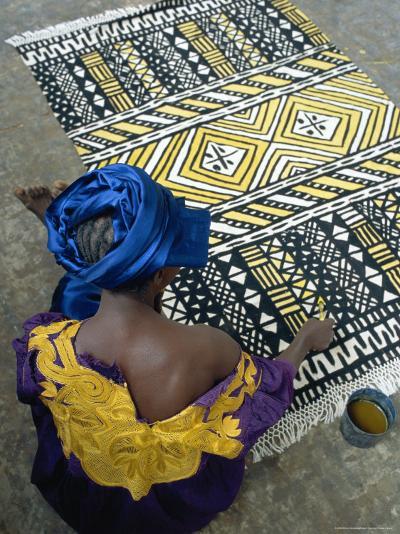 Cotton Rug Making, Craft Workshop of Bogolan, Segou, Mali-Bruno Morandi-Photographic Print
