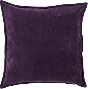 Cotton Velvet Down Fill Pillow - Eggplant