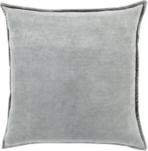 Cotton Velvet Poly Fill Pillow - Misty Grey