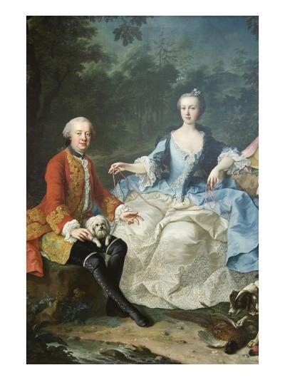 Count Giacomo Durazzo in the Guise of a Huntsman with His Wife-Martin van Meytens-Art Print