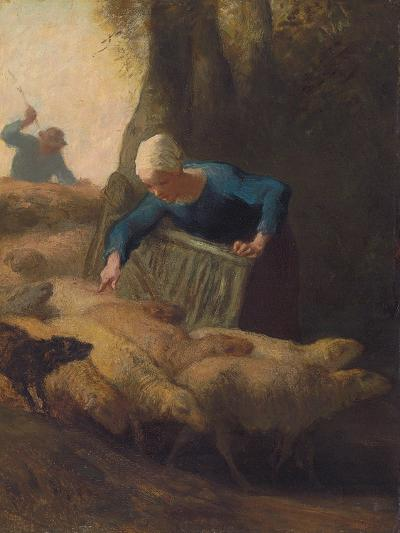 Counting the Flock, 1847-49-Jean-Francois Millet-Giclee Print