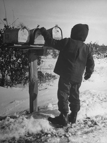 Country Boy Opening His Mailbox-Wallace Kirkland-Photographic Print
