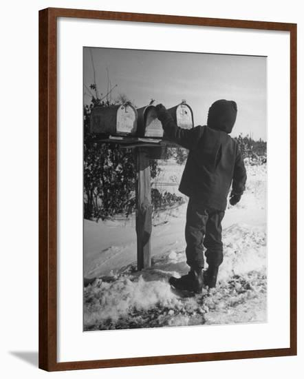 Country Boy Opening His Mailbox-Wallace Kirkland-Framed Photographic Print