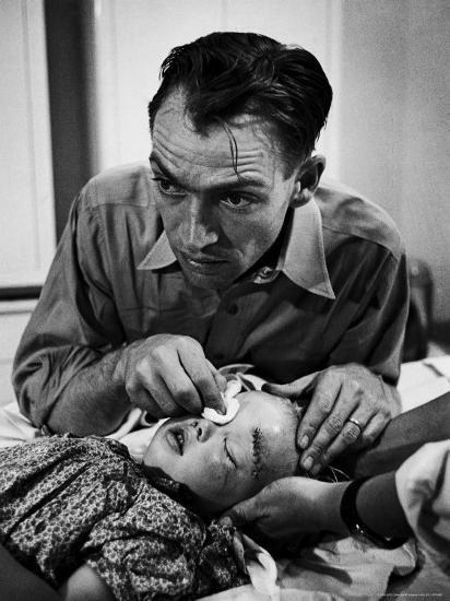 Country Dr. Ernest Ceriani Aftter girl gets stiches from being kicked in head by a Horse-W^ Eugene Smith-Photographic Print