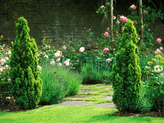 Country Garden Filled with Roses and Borders with a Pond and Old House, Wiltshire-Lynn Keddie-Photographic Print